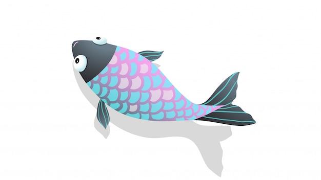 Fisch, der im salzwasser mit lustiger karikatur des schattenillustrationsvektors schwimmt.