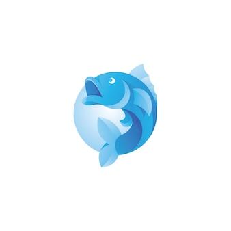 Fisch großmaul bass maskottchen logo