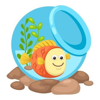Fisch in einer schüssel. illustration
