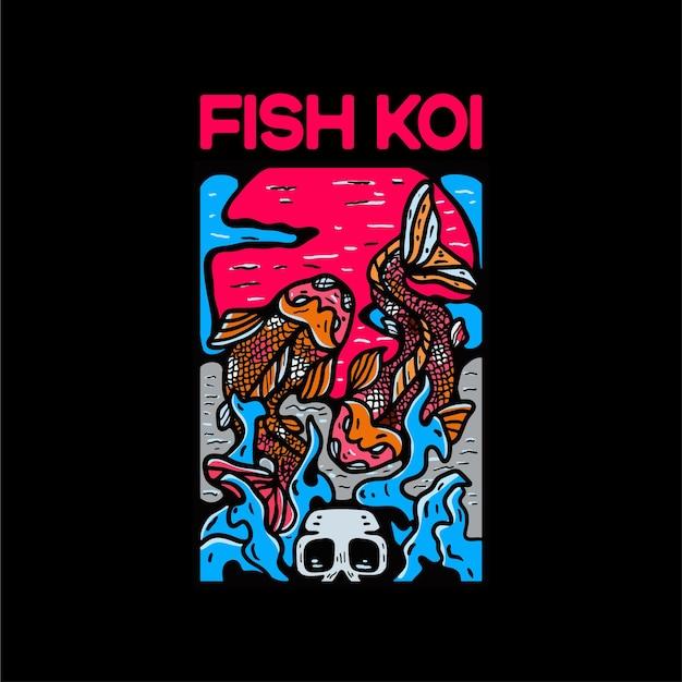 Fisch-koi-charakterillustration im japanischen stil
