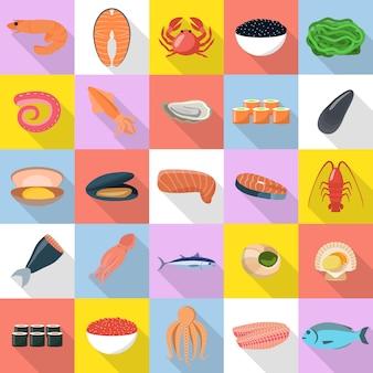 Fisch-lebensmittelikonen der meeresfrüchte eingestellt. flache illustration von 25 frischen fischfutterikonen der meeresfrüchte für netz