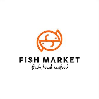 Fisch-logo-design meeresfrüchte-markt-vektor
