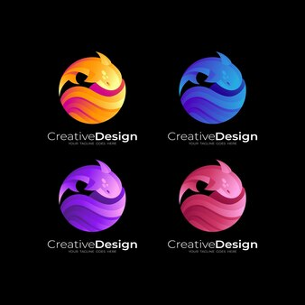 Fisch-logo mit kreisentwurfsillustration, bunte logos 3d