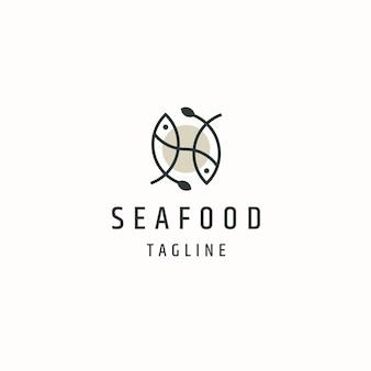 Fisch meeresfrüchte logo icon design vorlage flacher vektor