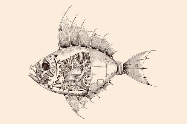 Fisch mit einem metallkörper auf mechanischer steuerung im steampunk-stil.