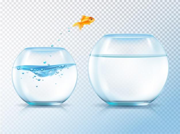 Fisch springt aus der schüssel