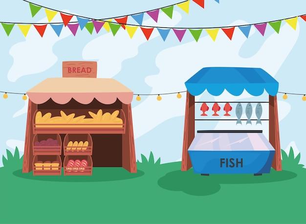 Fisch und brot vermarktet design des ladeneinzelhandelsgeschäfts und kaufen thematische illustration