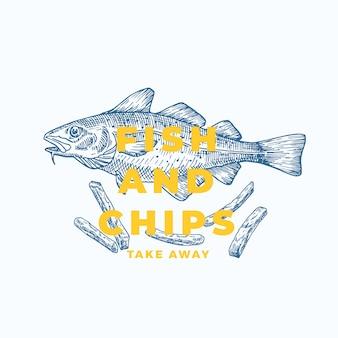 Fisch und chips abstrakte zeichen-, symbol- oder logo-vorlage. handgezeichnete kabeljau- und kartoffelpommes mit moderner typografie. premium quality emblem. isoliert.