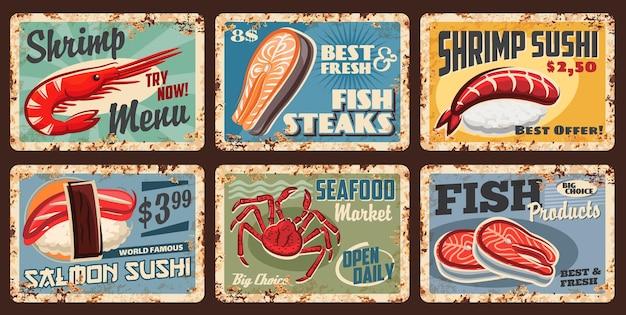 Fisch- und meeresfrüchtesushi, lebensmittelmarkt und restaurantmenüpreis