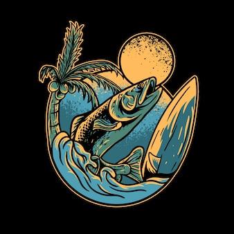 Fisch- und sommertagillustration