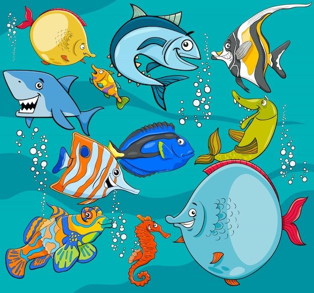 Fisch zeichentrickfiguren gruppe