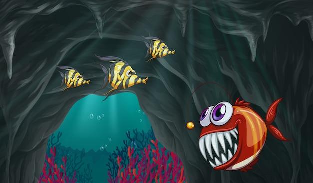 Fische, die unter dem ozean schwimmen