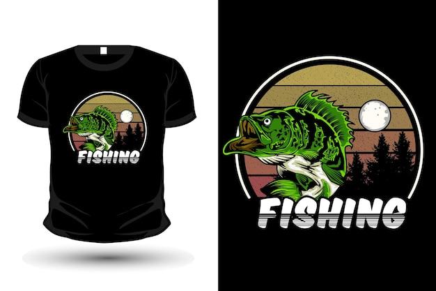 Fischen illustration merchandise t-shirt design retro-stil