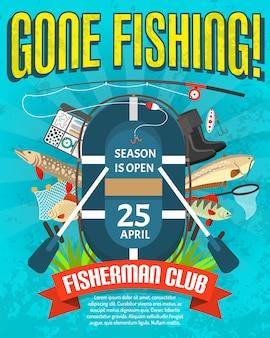 Fischen-plakat mit datum der jahreszeit-öffnung