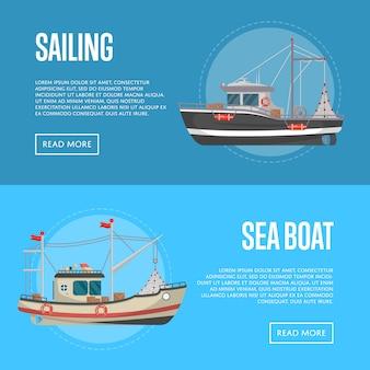 Fischengeschäftsfahnen mit kleinen seebooten
