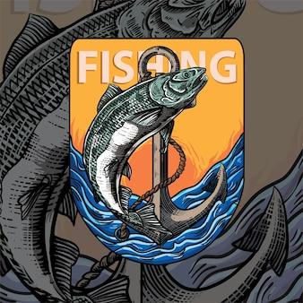 Fischenillustration für t-shirt grapich premium-vektor