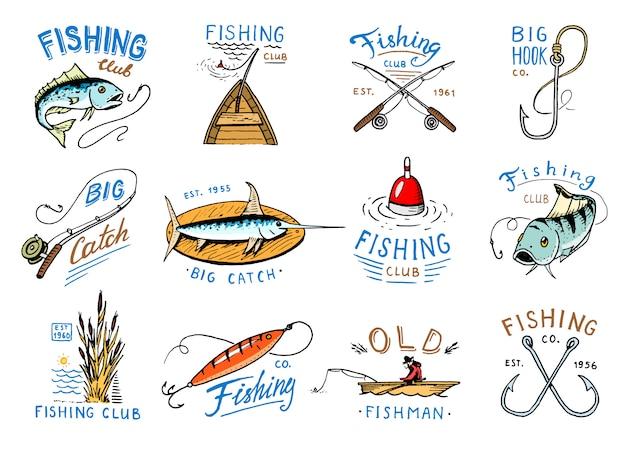 Fischenlogo fischereifirmenzeichen mit fischer im boot und emblem mit angelrute des gefangenen fisches.