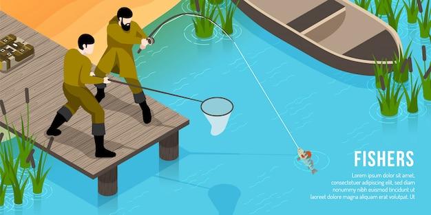 Fischer auf hölzernem pier mit geräten während der fische, die isometrisches horizontales fangen