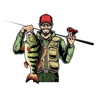 Fischer, der barsch und angelrute im vintage-stil hält, isolierte illustration
