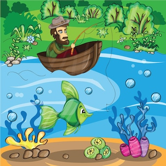 Fischer, der den fisch fängt - vektorkarikaturillustration
