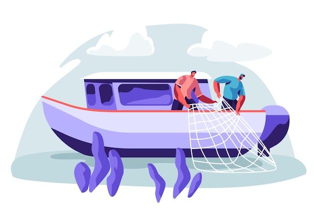 Fischer, die an der fischereiindustrie auf großen bootsschiffen arbeiten, die fische fangen