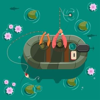 Fischer in einem boot am see. draufsicht der vektorkarikatur-illustration.