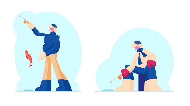 Fischer in warmen kleidern und ohrenklappen hutfischen auf eis, das fische mit rute zur winterzeit fängt. karikatur flache illustration