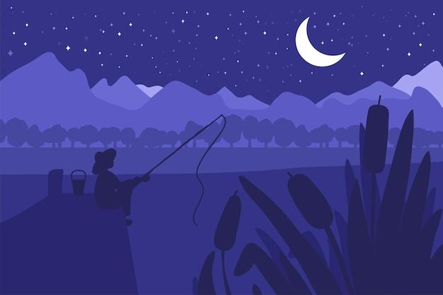 Fischer mit angelrute auf der flussbrücke. wald mit fluss- und parklandschaft. nachtpanorama. natürliche szene. vektor
