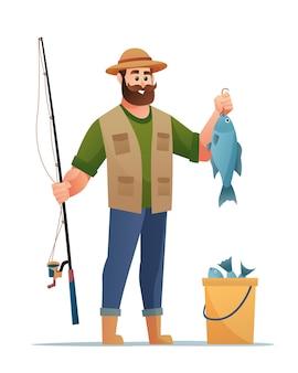 Fischer mit fischfangcharakterkarikatur