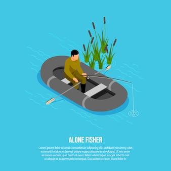 Fischer mit gerät während des fangens im gummiboot nahe schilfen auf blauem isometrischem