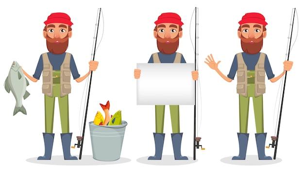Fischer-zeichentrickfilm-figur, set von drei haltungen