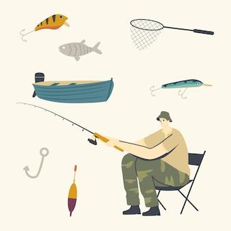 Fischercharakter, der auf stuhl mit rute an der küste sitzt und guten fang hat.