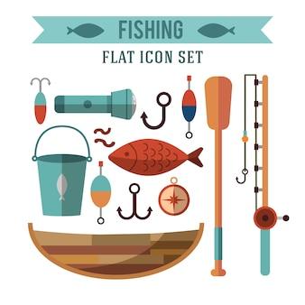 Fischerei konzeptionelle symbole festgelegt. flaches design. erholung am wasser.