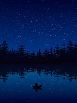 Fischerei nachts nahe einem wald mit flacher vektorillustration des bootes und der stange