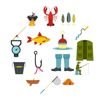 Fischerei-tools legen sie flache symbole