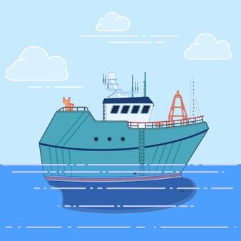 Fischereifahrzeug im meer