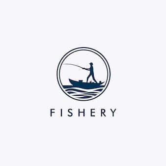 Fischereilogo mit fischerschattenbild