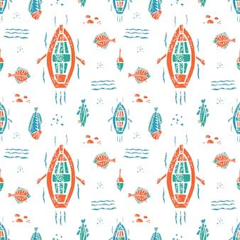 Fischereimuster im naiven lino-stil
