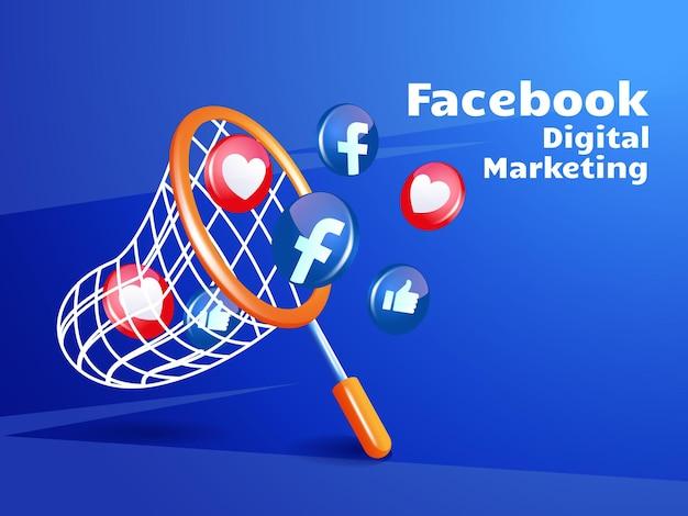 Fischernetz und facebook-symbol für digitales marketing-social-media-konzept