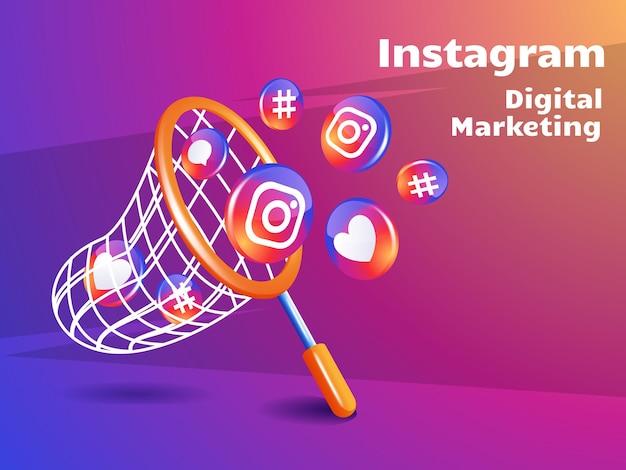 Fischernetz und instagram-symbol für digitales marketing-social-media-konzept