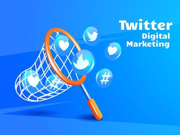 Fischernetz und twitter-symbol für digitales marketing-social-media-konzept