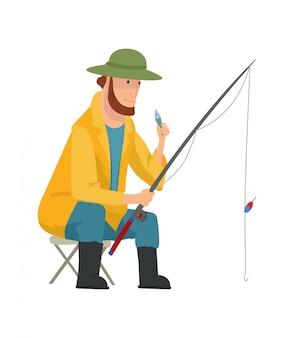 Fischerwohnung. fischenleute mit fisch- und ausrüstungsvektorsatz. fischereiausrüstung, freizeit und hobby fangen fischillustration.