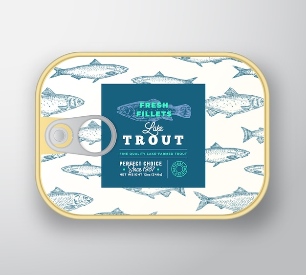 Fischetikettenvorlage in dosen. abstrakter fischaluminiumbehälter mit etikettenabdeckung.
