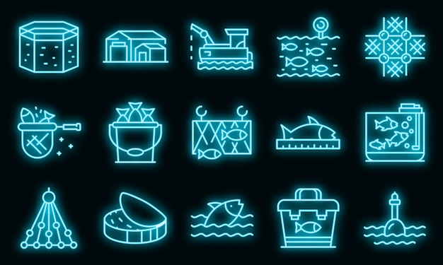 Fischfarm-icons gesetzt. umrisse von fischfarm-vektorsymbolen neonfarbe auf schwarz