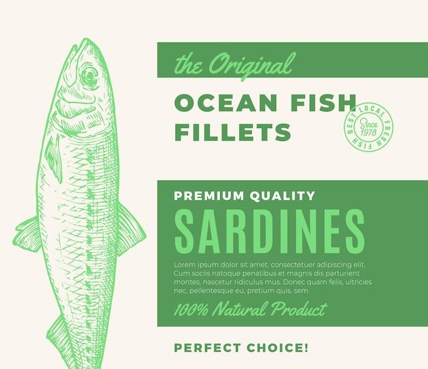 Fischfilets in premium-qualität abstraktes vektor-fischverpackungsdesign oder moderne typografie und ...