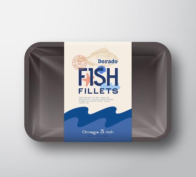 Fischfilets pack. abstrakter fischplastikbehälterbehälter mit zellophanabdeckung. verpackungsetikett.