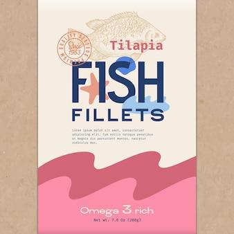 Fischfillet. fischverpackungsvorlage
