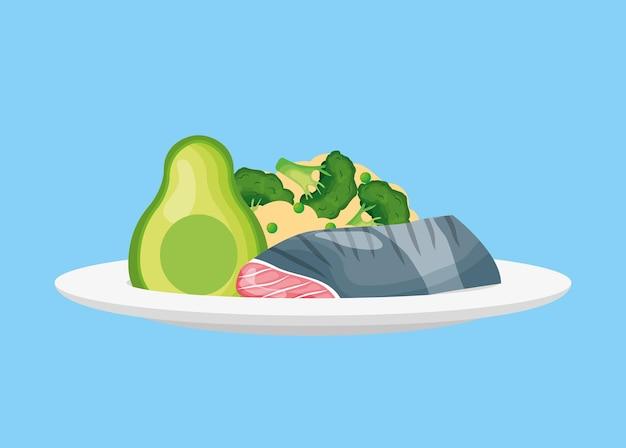Fischfleisch mit avocado und brokkoli gesundes essen .vector illustration