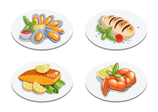 Fischgerichte im cartoon-stil. tintenfisch, garnelen, fisch, muscheln auf teller.