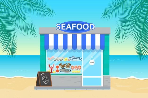 Fischladen im flachen stil. fassade des meeresfrüchtemarktes. ozean und palme auf hintergrund.